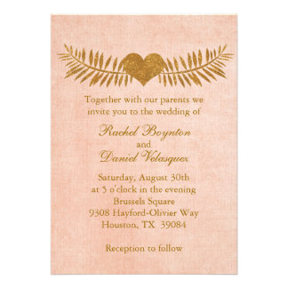 Coral and Gold Heart Wedding Invitation