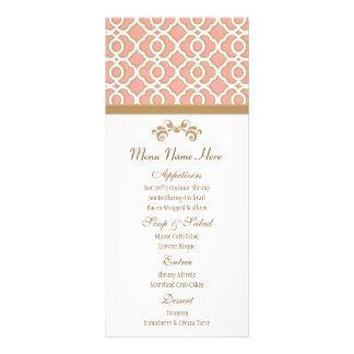 Coral and Gold Moroccan Menu Rack Card Design