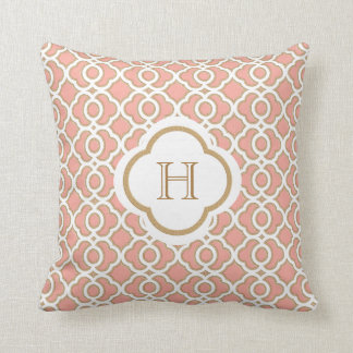 Coral and Gold Moroccan Monogram Throw Pillow