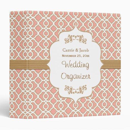Coral and Gold Moroccan Wedding Planner Vinyl Binder