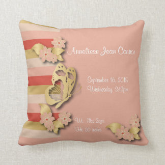 Coral and Gold Stripes with Butterflies for Baby Throw Pillow
