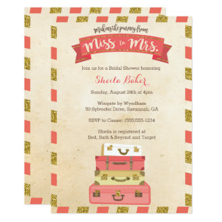 Coral and Gold Travel-Themed Shower Invitations