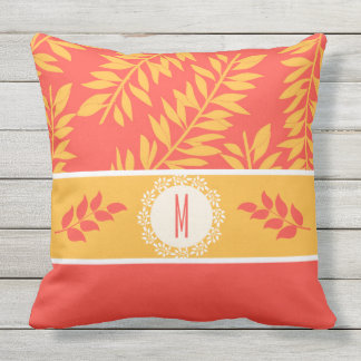 Coral and Golden Yellow Two-Sided with Monogram Outdoor Pillow