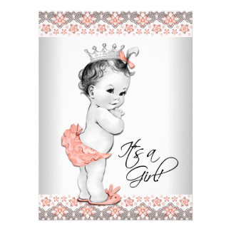 Coral and Gray Baby Girl Shower Personalized Announcement