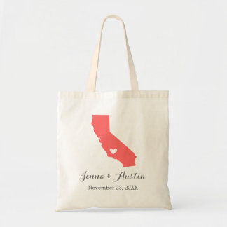 Coral and Gray California Wedding Welcome Tote Bag