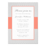 Coral and Gray Chevron Bridal Shower Card