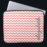 "Coral and Gray Chevron Pattern with Big Name Laptop Sleeve<br><div class=""desc"">A trendy design with popular colors. Items are easier to customize when you replace all text and photos first. If your art still needs to be adjusted, click on the Customize This button. This will take you to a design area where you can move things around and even change fonts!...</div>"