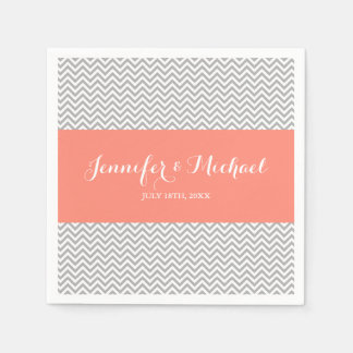 Coral and Gray Chevron Personalized Paper Napkin