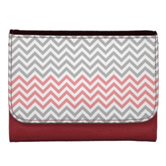 Coral and Gray Chevron Wallet