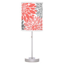 Coral and Gray Chrysanthemums Floral Pattern Desk Lamp