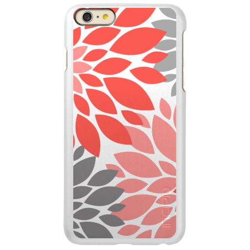 Coral and Gray Chrysanthemums Floral Pattern Incipio Feather Shine iPhone 6 Plus Case