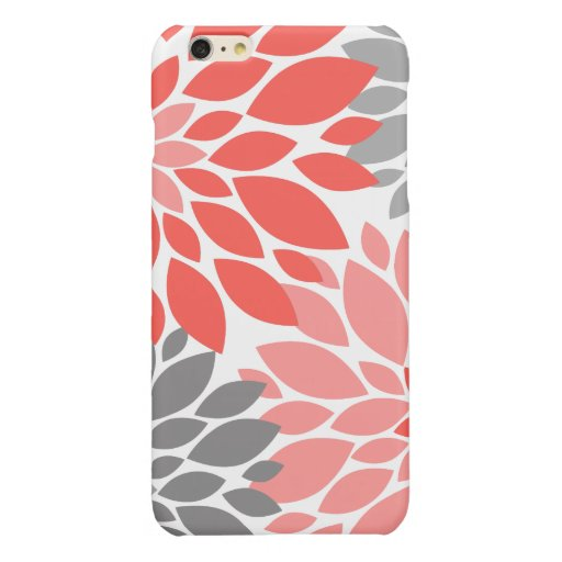 Coral and Gray Chrysanthemums Floral Pattern Glossy iPhone 6 Plus Case