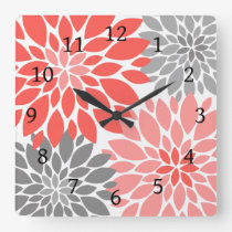 Coral and Gray Chrysanthemums Floral Pattern Square Wall Clock