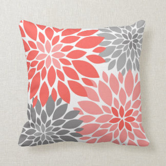 Coral and Gray Chrysanthemums Floral Pattern Throw Pillow