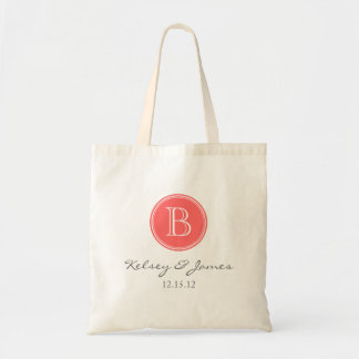 Coral and Gray Custom Monogram Wedding Favor Tote Bag
