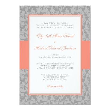 printcreekstudio Coral and Gray Damask Swirl Wedding Card