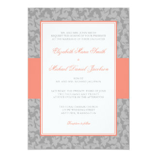 Coral and Gray Damask Swirl Wedding 5x7 Paper Invitation Card