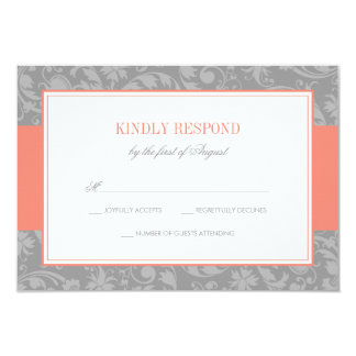 Coral and Gray Damask Wedding RSVP Card