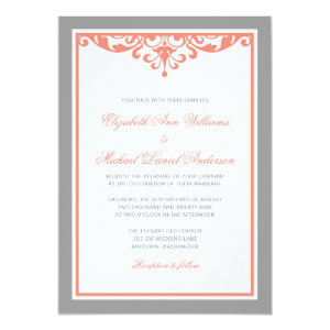 Coral and Gray Flourish Wedding Invitations 5
