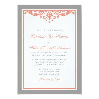 Lovely Coral And Gray Flourish Wedding Invitations