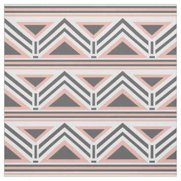 Aztec Themed Coral and Gray Geometric Tribal Pattern Fabric