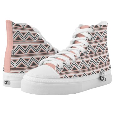 Aztec Themed Coral and Gray Geometric Tribal Pattern High-Top Sneakers