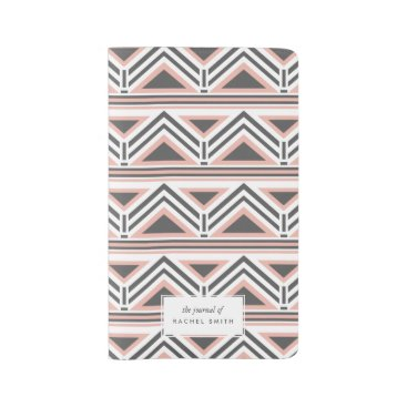 Aztec Themed Coral and Gray Geometric Tribal Pattern Large Moleskine Notebook
