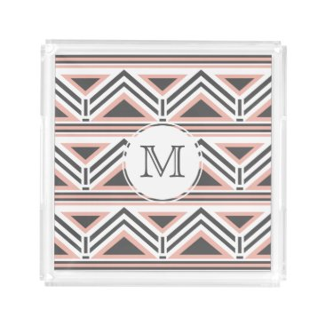 Aztec Themed Coral and Gray Geometric Tribal Pattern Monogram Acrylic Tray