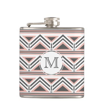 Aztec Themed Coral and Gray Geometric Tribal Pattern Monogram Hip Flask