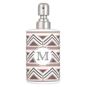 Aztec Themed Coral and Gray Geometric Tribal Pattern Monogram Soap Dispenser & Toothbrush Holder