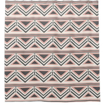 Aztec Themed Coral and Gray Geometric Tribal Pattern Shower Curtain