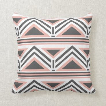 Aztec Themed Coral and Gray Geometric Tribal Pattern Throw Pillow