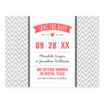 Coral and Gray Modern Chevron Save the Date Postcard