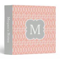Coral and Gray Monogram Elegant Pattern 3 Ring Binder