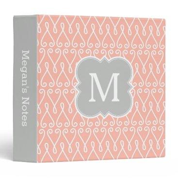 Beach Themed Coral and Gray Monogram Elegant Pattern 3 Ring Binder