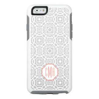 Coral and Gray Quatrefoil Custom Monogram OtterBox iPhone 6/6s Case