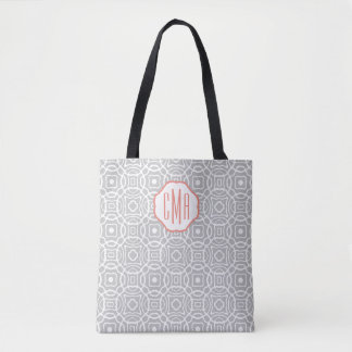 Coral and Gray Quatrefoil Custom Monogram Tote Bag