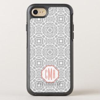 Coral and Gray Quatrefoil Monogram OtterBox Symmetry iPhone 7 Case
