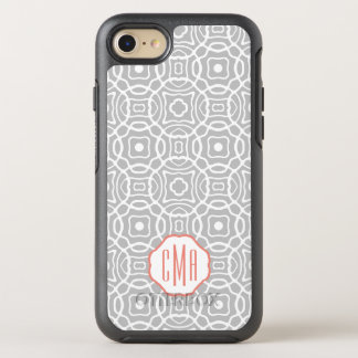 Coral and Gray Quatrefoil Monogram OtterBox Symmetry iPhone 8/7 Case