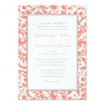 Coral and Gray Swirl Damask Wedding Card