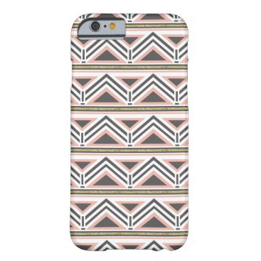 Aztec Themed Coral and Gray Tribal Pattern w/ Faux Gold Accent Barely There iPhone 6 Case