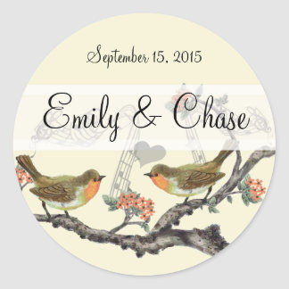 Coral and Gray Vintage Birds Wedding Stickers