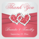 Coral and Gray Wedding Favor Sticker
