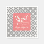 Coral and Gray Wedding Pattern Bride Groom Standard Cocktail Napkin
