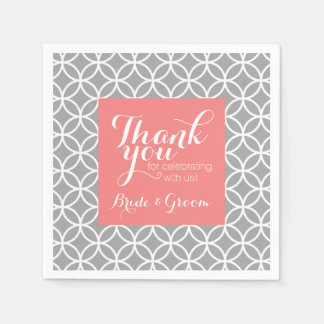 Coral and Gray Wedding Pattern Bride Groom Disposable Napkins