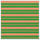 [ Thumbnail: Coral and Green Colored Lines Fabric ]