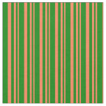 [ Thumbnail: Coral and Green Colored Stripes Pattern Fabric ]