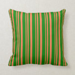 [ Thumbnail: Coral and Green Colored Stripes Pattern Pillow ]