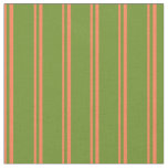 [ Thumbnail: Coral and Green Lined Pattern Fabric ]