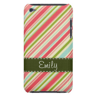 Coral and Green Stripes; Striped Barely There iPod Case